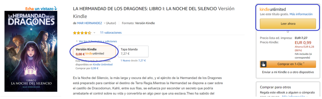 Cómo funciona Kindle Unlimited: libro disponible