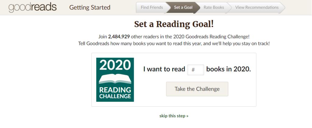 Definir objetivo en el Reto Goodreads