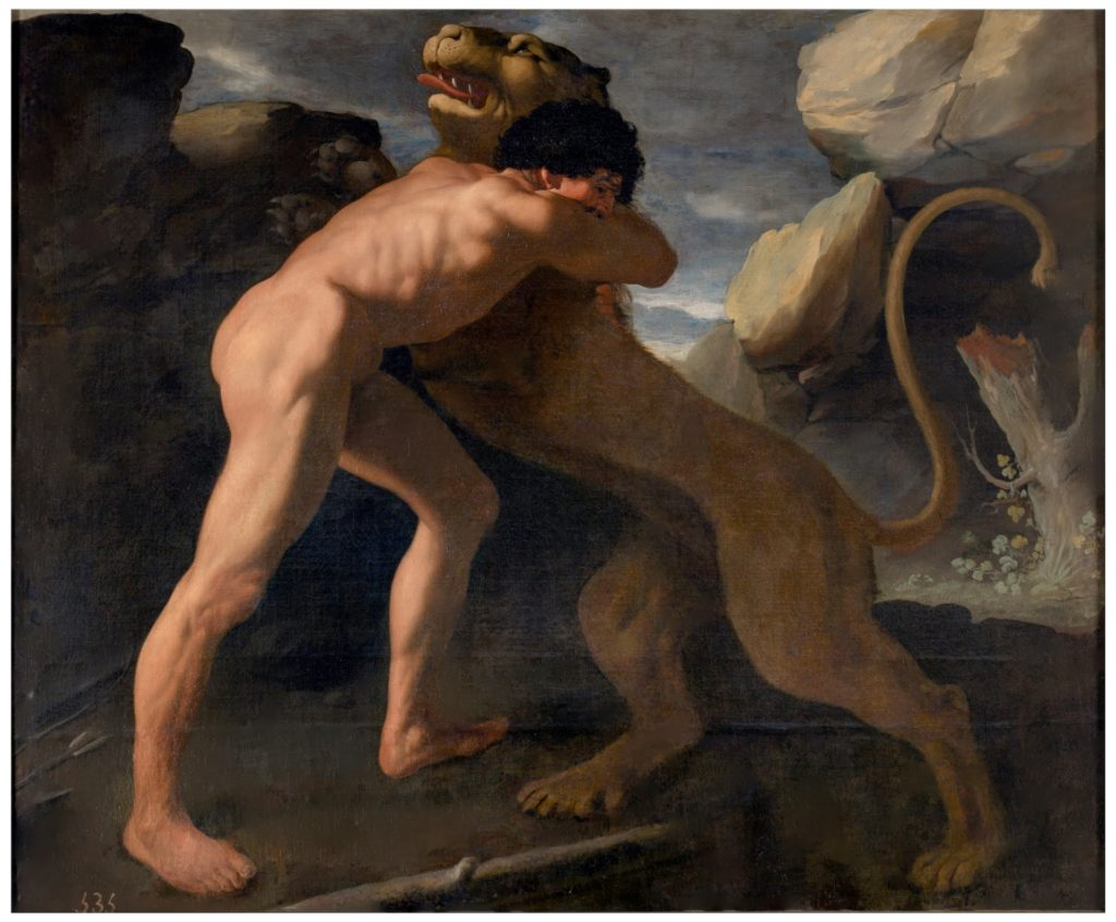 El león de Nemea en su lucha contra Hércules