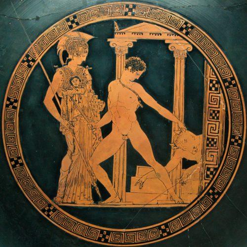 Mito de Teseo: venciendo al Minotauro en presencia de Atenea