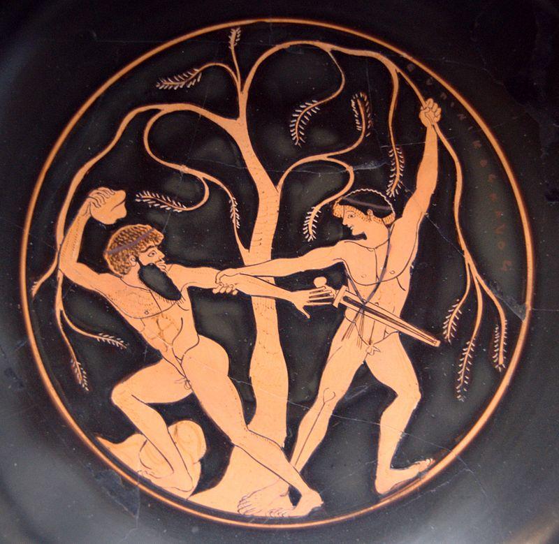 Mito de Teseo: lucha contra Sinis, el doblador de pinos